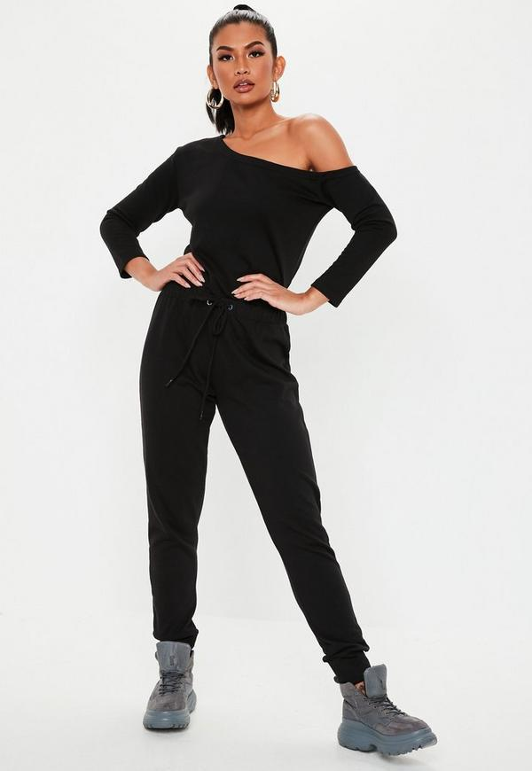 Off The Shoulder Jumpsuit Black