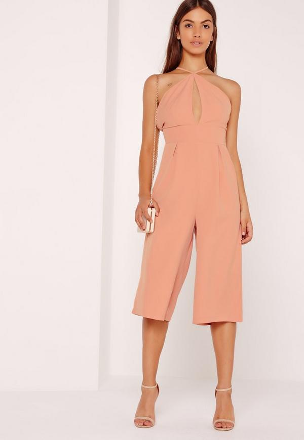Crepe Keyhole Cut Out Culotte Jumpsuit Pink