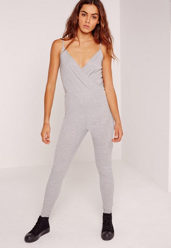 Ribbed Wrap Front Jumpsuit Grey