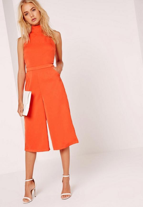 Crepe High Tie Neck Culotte Jumpsuit Orange