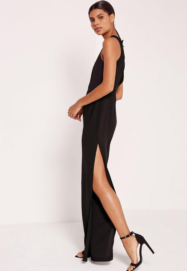 Crepe Leg Spilt Jumpsuit Black