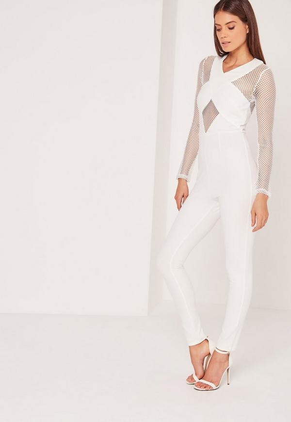 Crepe Fishnet Jumpsuit White