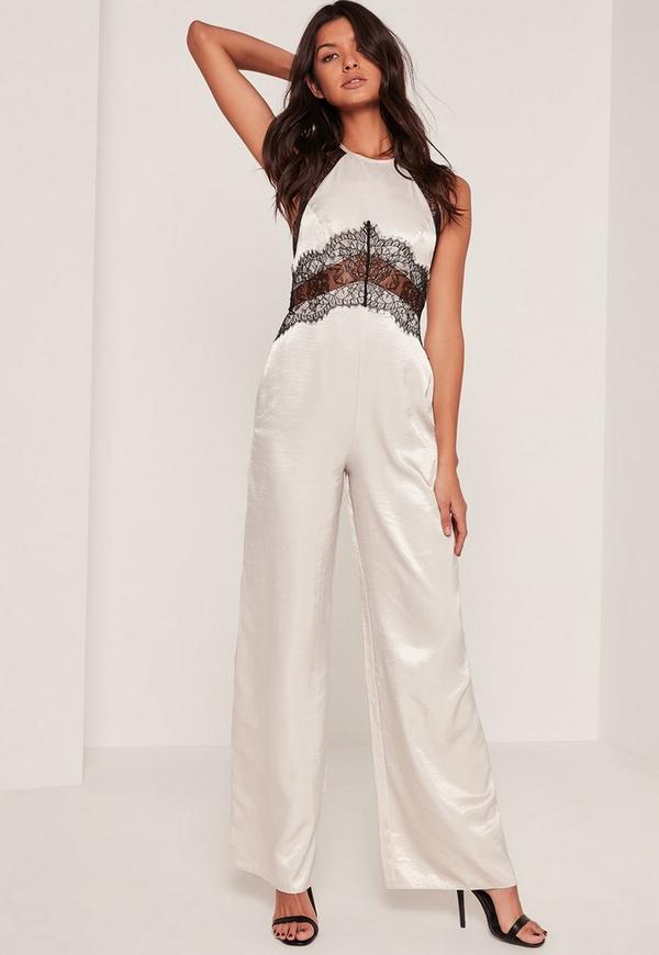 Silky Lace Insert Jumpsuit Cream