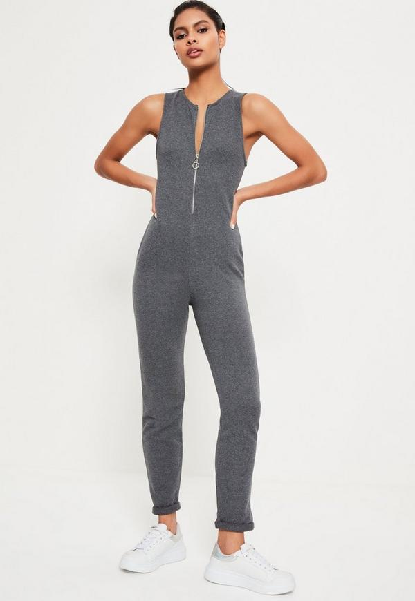 Grey Loop Back Zip Through Jumpsuit