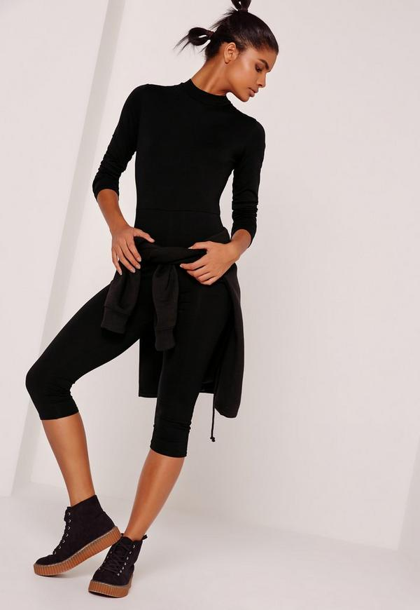 Black Jersey Grown On Neck Unitard Jumpsuit