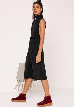 Ribbed High Neck Tie Waist Culotte Jumpsuit Black