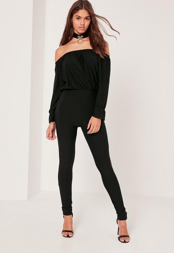 Crepe bardot long sleeve jumpsuit black