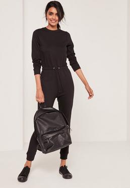 Loop Back Long Sleeve Jumpsuit Black