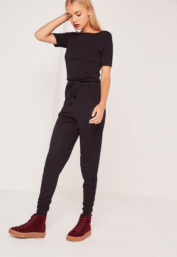 Ribbed Short Sleeve Jumpsuit Black