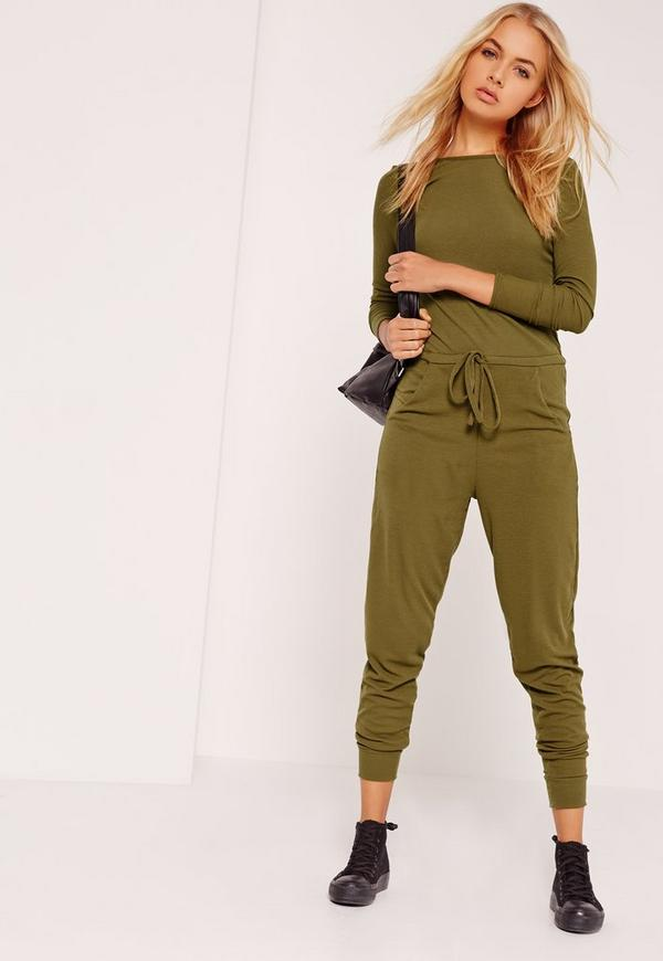 Ribbed Long Sleeve Jumpsuit Khaki