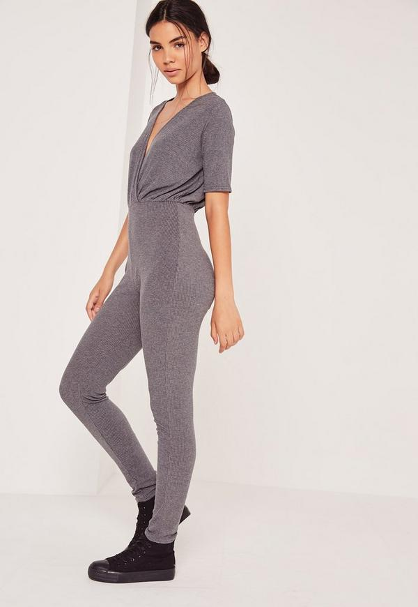 Ribbed Wrap Short Sleeve Jumpsuit Grey