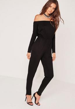 Jersey Long Sleeve Bardot Jumpsuit Black