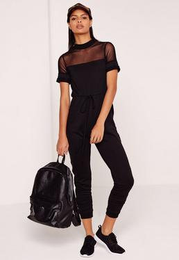 Loop Back & Mesh Jumpsuit Black