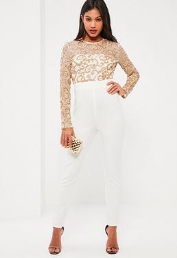 White Sequin Swirl Jumpsuit