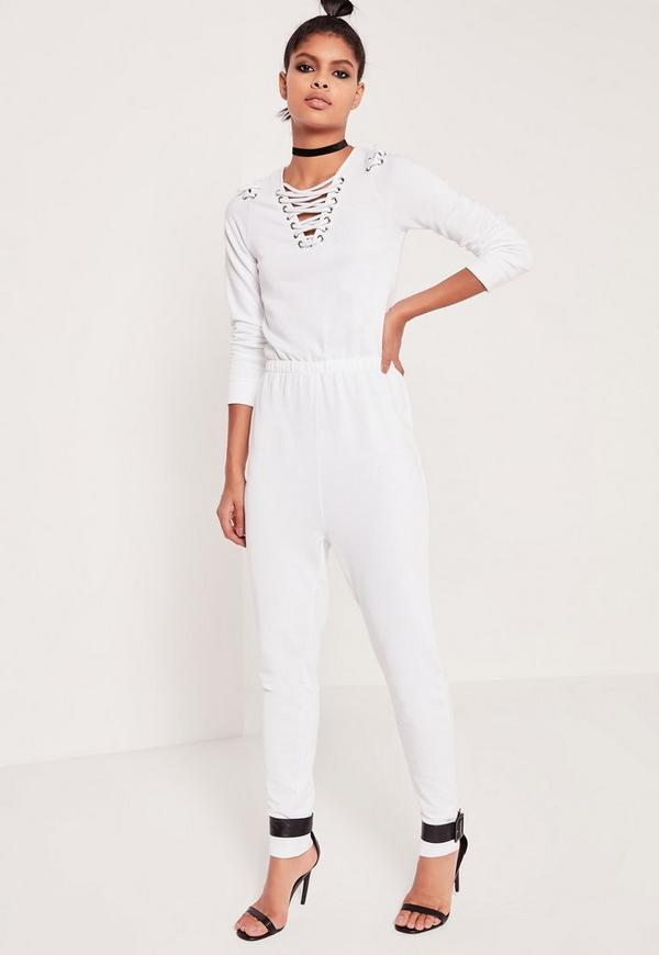 Loop Back Lace Up Detail Jumpsuit White