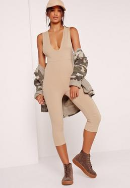 Ribbed Sleeveless 3/4 Leg Unitard Jumpsuit Camel