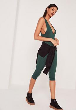 Green Ribbed Sleeveless 3/4 Leg Unitard Jumpsuit