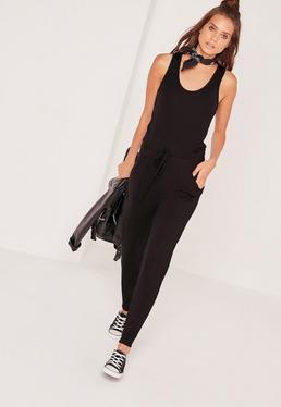 Jersey Sleeveless Jumpsuit Black