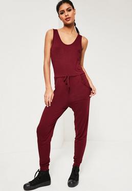 Burgundy Jersey Sleeveless Jumpsuit