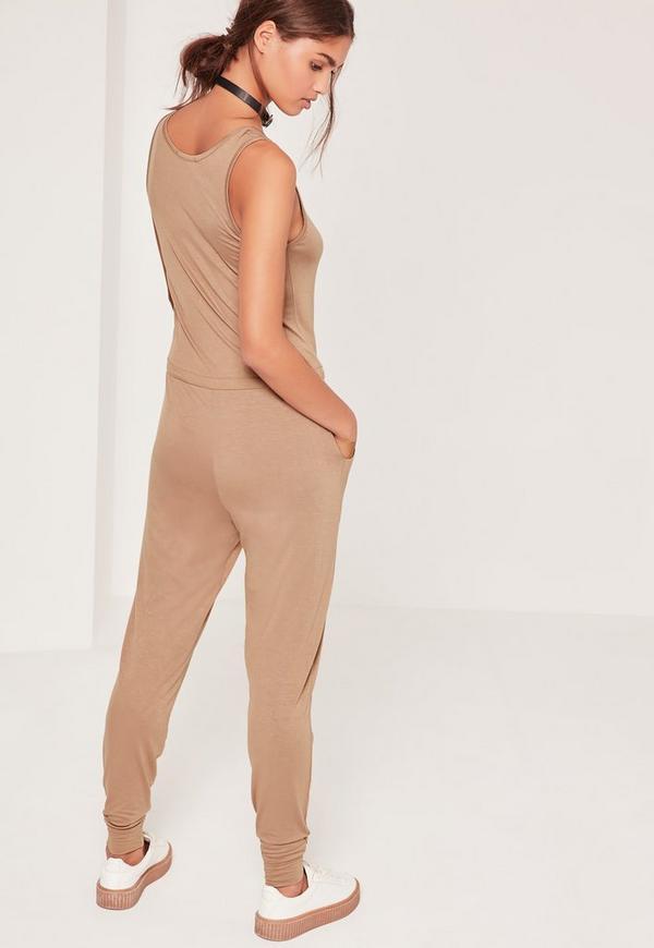 Jersey Sleeveless Jumpsuit Nude