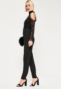 Lace Cold Shoulder Jumpsuit Black