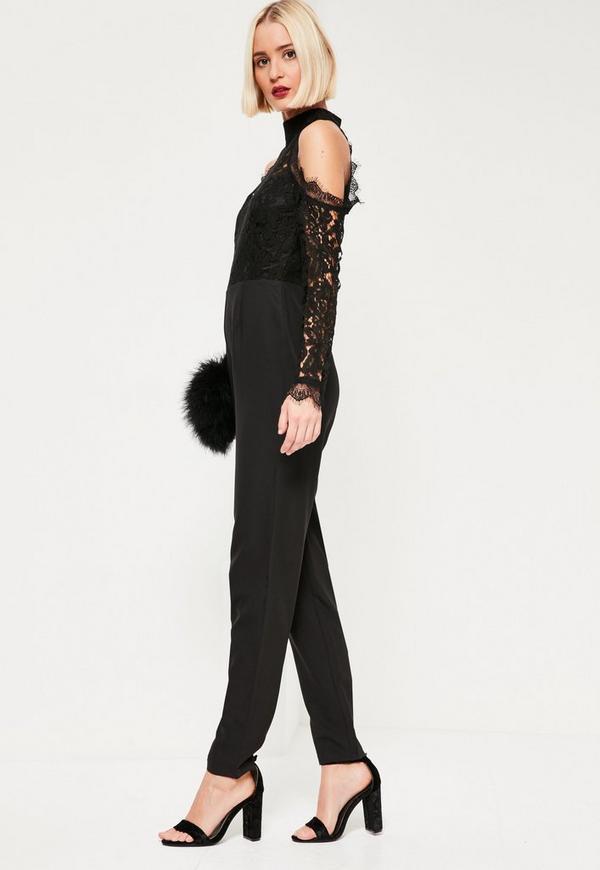 Lace Cold Shoulder Jumpsuit Black