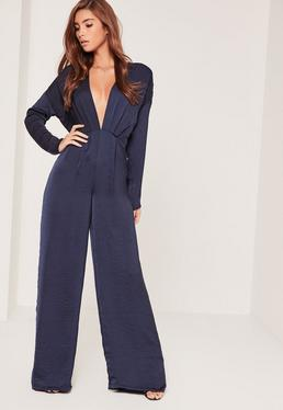 Silky Long Sleeve Plunge Jumpsuit Navy