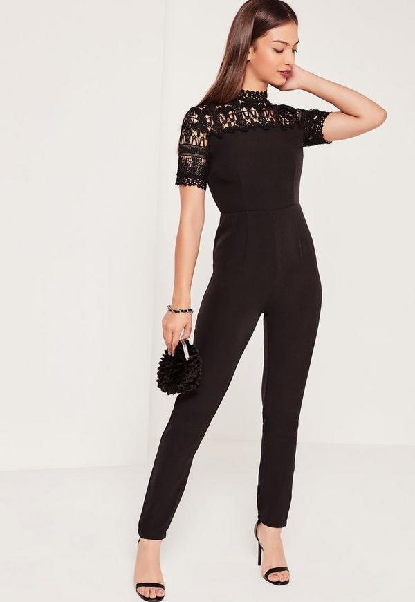 Lace Short Sleeve Crepe Jumpsuit Black   Missguided