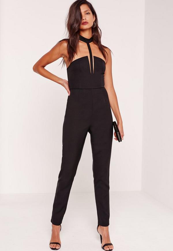 Crepe T-Bar Jumpsuit Black
