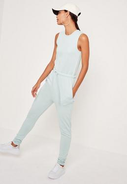 Loopback Sleeveless Jumpsuit Blue