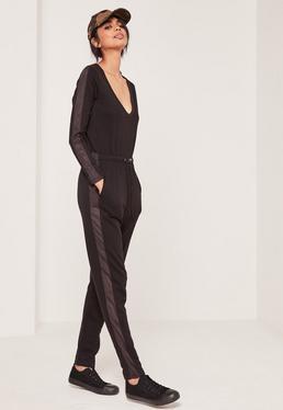 Loopback Mesh Side Detail Jumpsuit Black