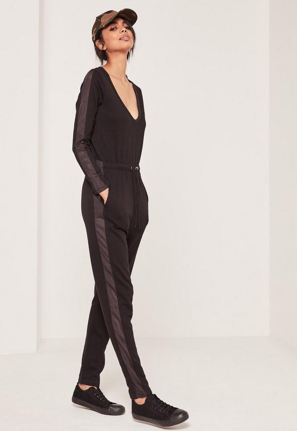 Loopback Mesh Side Detail Jumpsuit Black