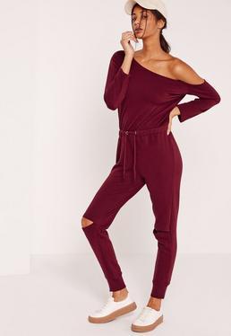 Loopback Off the Shoulder Jumpsuit Burgundy