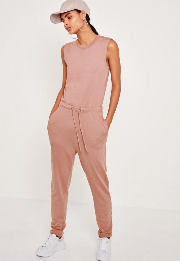 Loopback Sleeveless Jumpsuit Dusky Pink