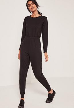 Loop Back Lace up Detail Jumpsuit Black