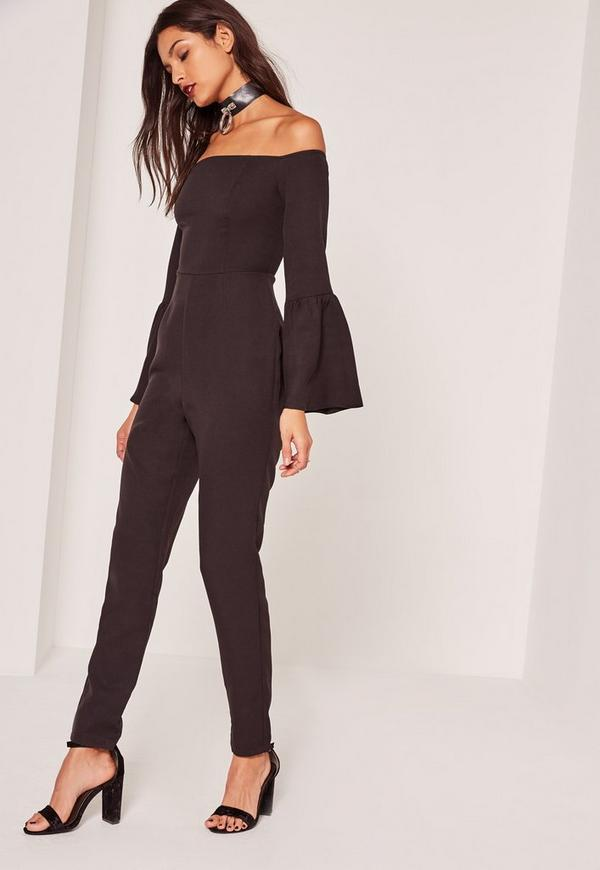 Crepe Bell Sleeve Jumpsuit Black