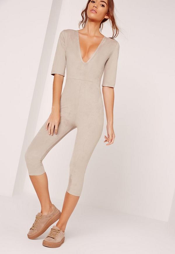 Faux Suede Short Sleeve 3/4 Leg Unitard Jumpsuit Grey