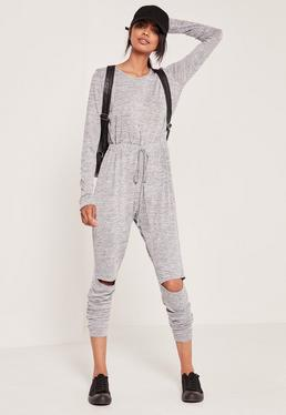 Grey Long Sleeve Ripped Knee Jumpsuit