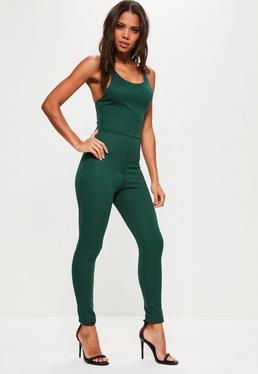 Ribbed Strappy Back Detail Unitard Jumpsuit Green