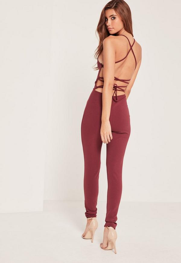 5431fffc533 Crepe Strappy Back Detail Unitard Jumpsuit Burgundy.  50.00. Previous Next