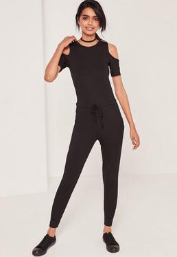 Ribbed Cold Shoulder Jumpsuit Black