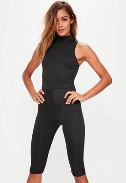 Black Scuba High Neck 3/4 Leg Unitard Jumpsuit