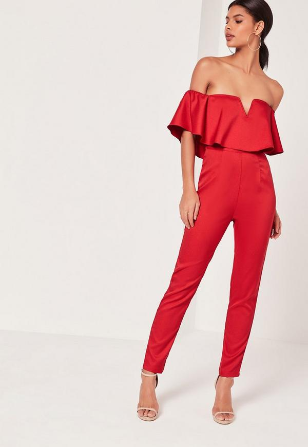 Crepe Bardot Frill Detail Jumpsuit Red