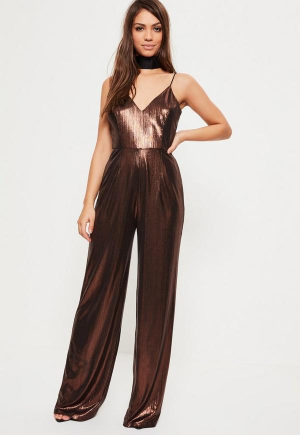 Bronze Metallic Wide Leg Jumpsuit