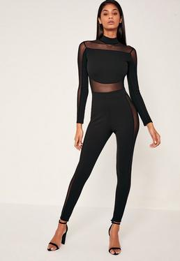 Black Mesh Panel High Neck Jumpsuit