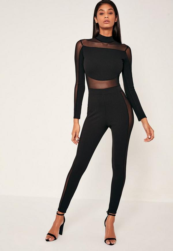 Black Mesh Panel High Neck Jumpsuit