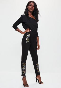 Black Bardot Embroidered Sweat Jumpsuit