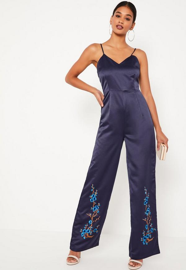Navy Embroidered Satin Jumpsuit