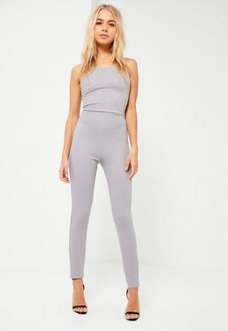 Grey Ribbed Strappy Back Detail Unitard Jumpsuit