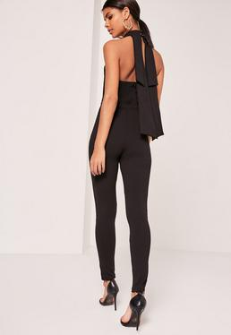 Bow Back Halterneck Jumpsuit Black